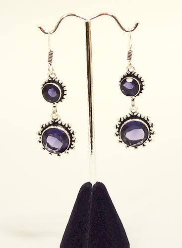 Sterling silver dangle earring with Amethyst stones