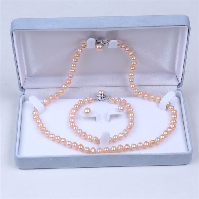 Freshwater pearl set bracelet-earring-necklace in gift box