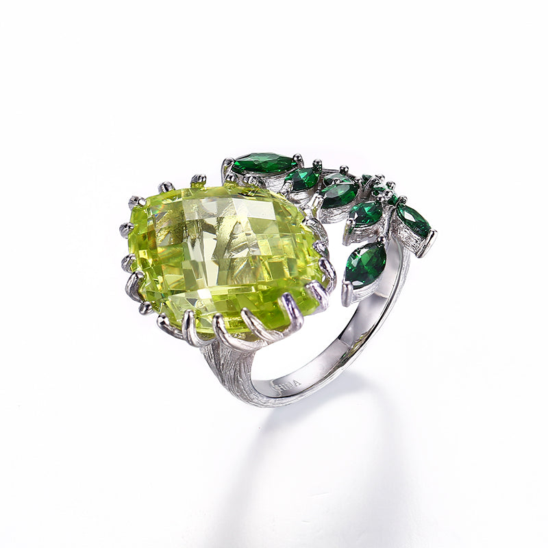 Flower Design 925 Sterling Silver Rings Jewelry with Green Zircon