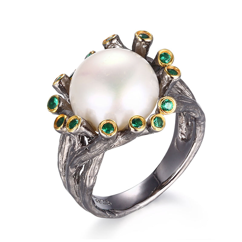 Natural Freshwater Button Baroque Pearl 925 Silver Jewelry Ring