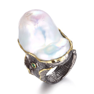 Handmade sterling silver freshwater baroque pearl ring