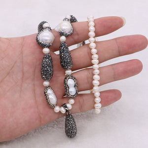 druzy cz and pearl necklace