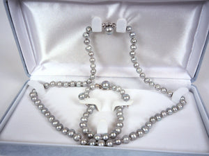 Freshwater pearl set bracelet-925 silver earring-necklace in gift box
