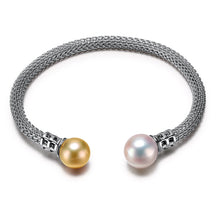 Load image into Gallery viewer, Designer Styling in Freshwater Pearl bracelet .925 sterling silver