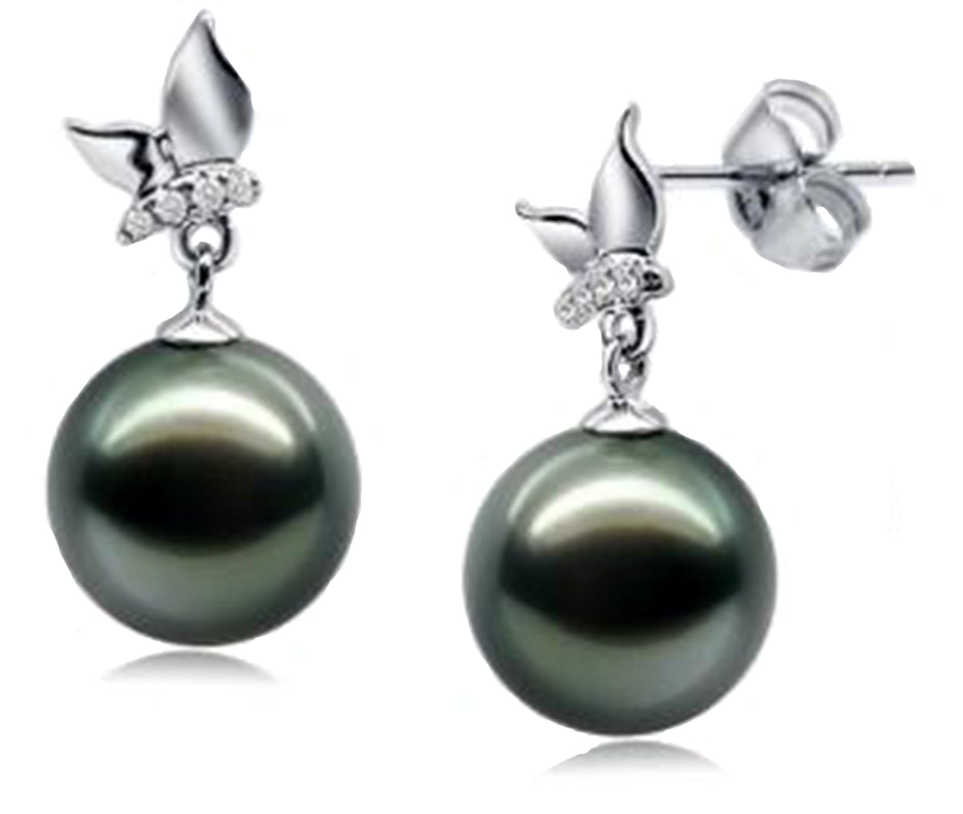 Tahitian black pearl earrings with diamond accent set in 14kt. white gold