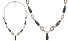 Load image into Gallery viewer, Bohemia Natural pearl handcrafted druzy necklace and AAA cubic zirconia