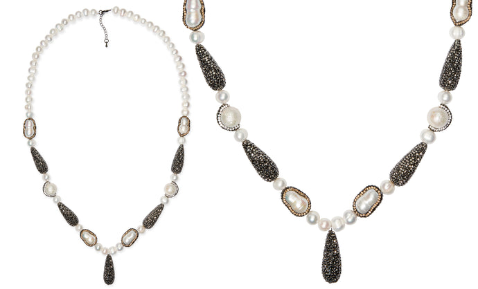 Bohemia Natural pearl handcrafted druzy necklace and AAA cubic zirconia