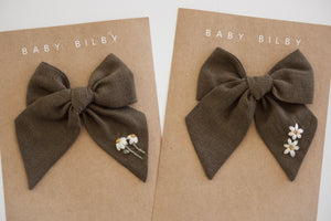 Mini Embroidered Bow | Olive