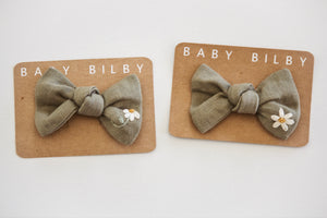 Petite Embroidered Bow | Sage