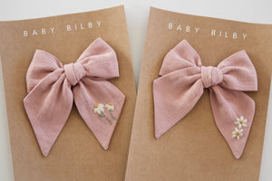 Mini Embroidered Bow | Cloud Pink