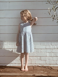 Lulu Dress | Dusty Blue Gingham. Blue Daisy Australian stockist. Afterpay