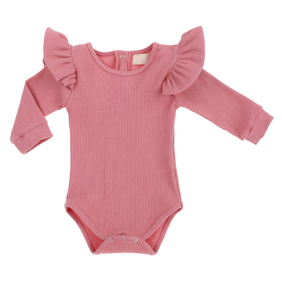 Ribbed Ruffle Romper | Dusty Pink