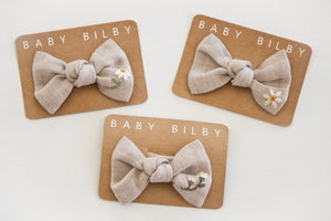 Petite Embroidered Bow | Frosted Almond