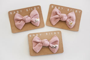 Petite Embroidered Bow | Cloud Pink