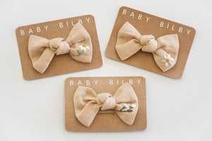 Petite Embroidered Bow | Golden Ochre