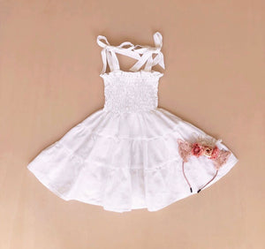 Mini Shirred Dress | White