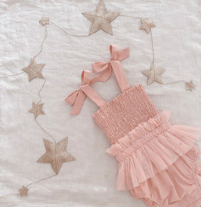 Shirred Tutu Romper | Dusty Pink. India and Grace. Australian stockist. Afterpay