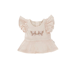 Embroidered Ruffle Blouse | Cream. India + Grace Australian stockist. Afterpay
