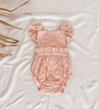 Load image into Gallery viewer, Broderie Anglaise Ruffle Romper | Vintage Pink. India + Grace Australian stockist. Afterpay
