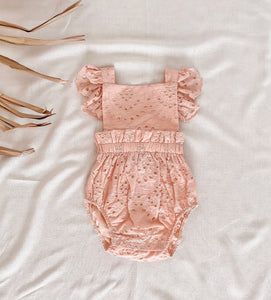 Broderie Anglaise Ruffle Romper | Vintage Pink. India + Grace Australian stockist. Afterpay