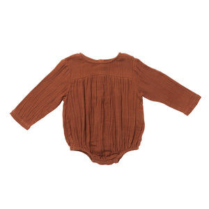 Long Sleeve Milly Romper | Friar Brown {LAST ONE Size 6-12m}