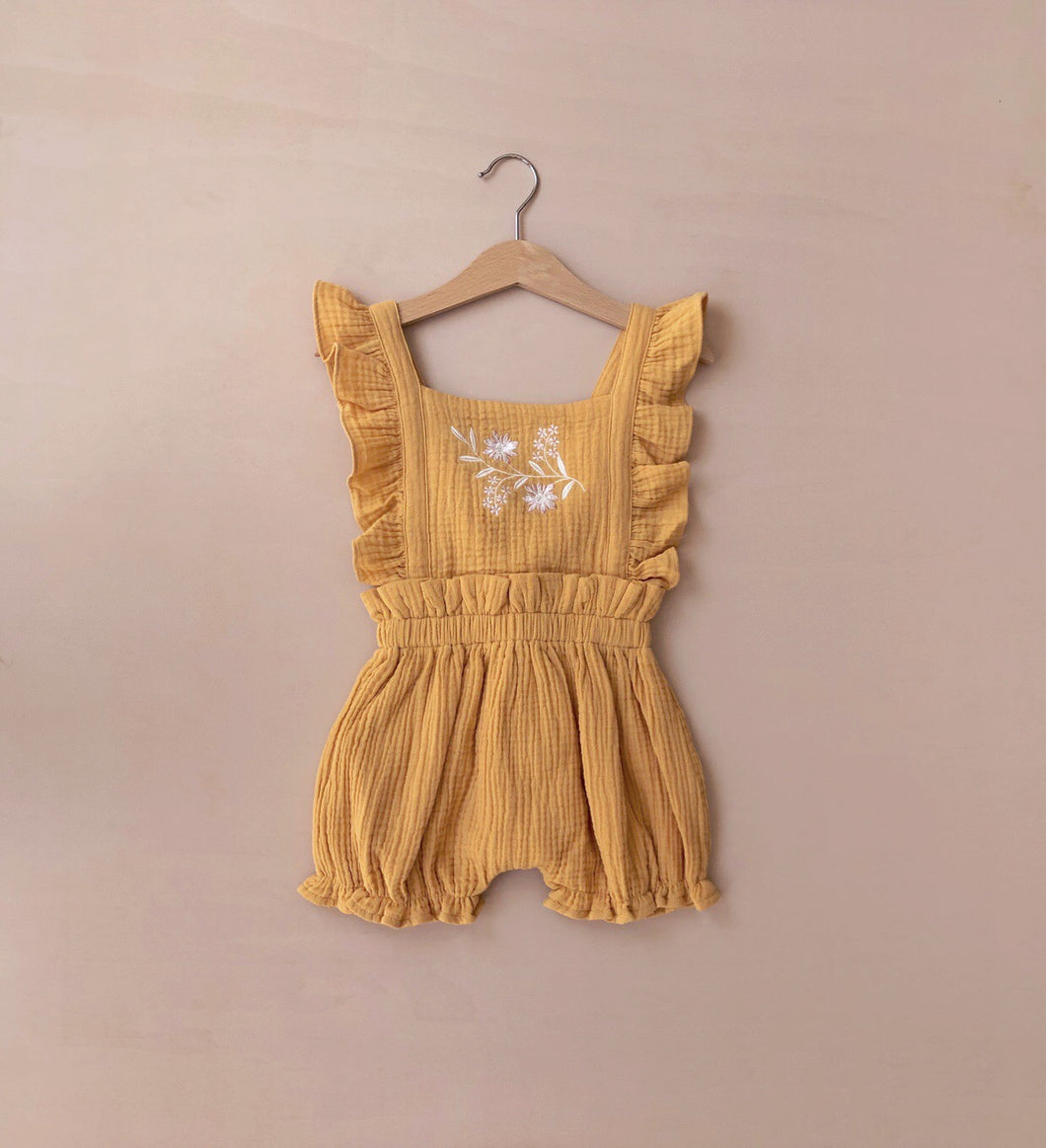 Embroidered Playsuit | Mustard {LAST ONE Size 1}