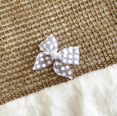 Mini Pinwheel Bow | Snow Velvet Dot
