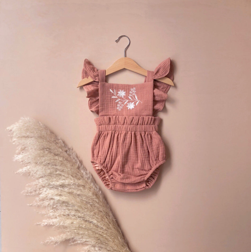 Embroidered Romper | Salmon {LAST ONE Size 1}