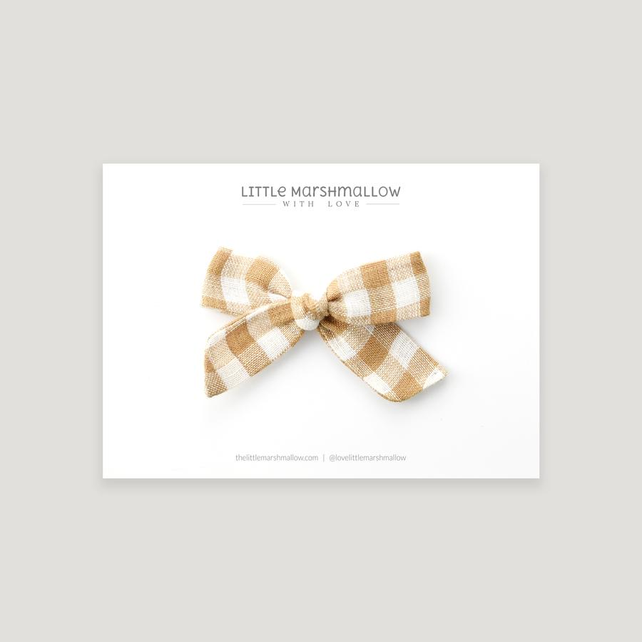 Mini Schoolgirl Bow | Fawn Gingham {LAST ONE Alligator Clip}