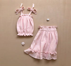 Tie Up Top and Skirt | Seashell Pink {LAST ONE Size 5}