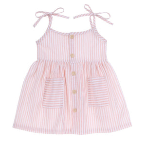 Tie Shoulder Sundress | Pink Stripe