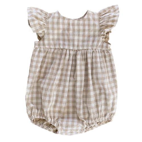 Willow Romper | Fawn Check. Ruffets and Co Australian stockist. Afterpay