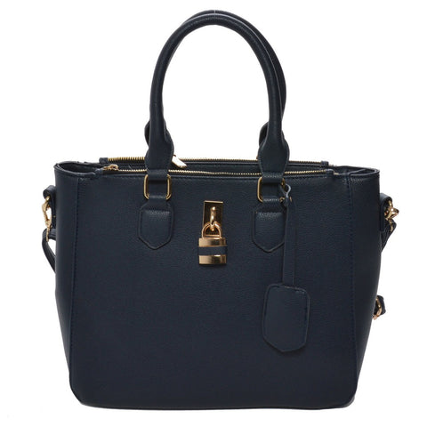 Mechaly Women's Aimee Blue Vegan Leather Shoulder Handbag