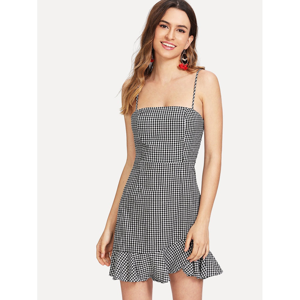 Ruffle Hem Gingham Cami Dress