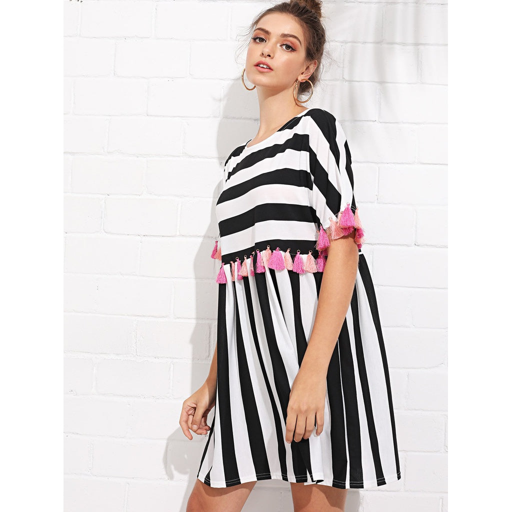 Fringe Trim Striped Dress