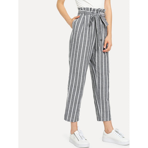Self Belted Striped Tapered Pants