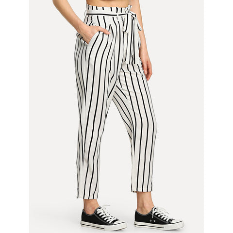 Self Tie Waist Striped Tapered Pants