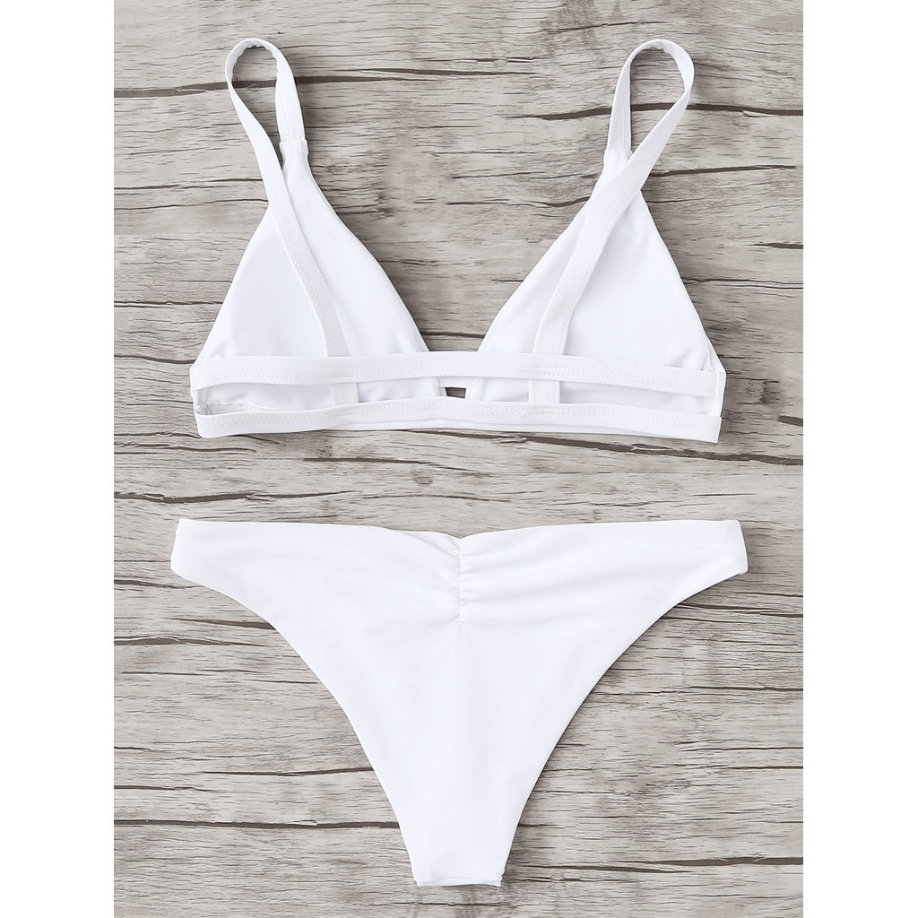 Caged Back Triangle Bikini Set