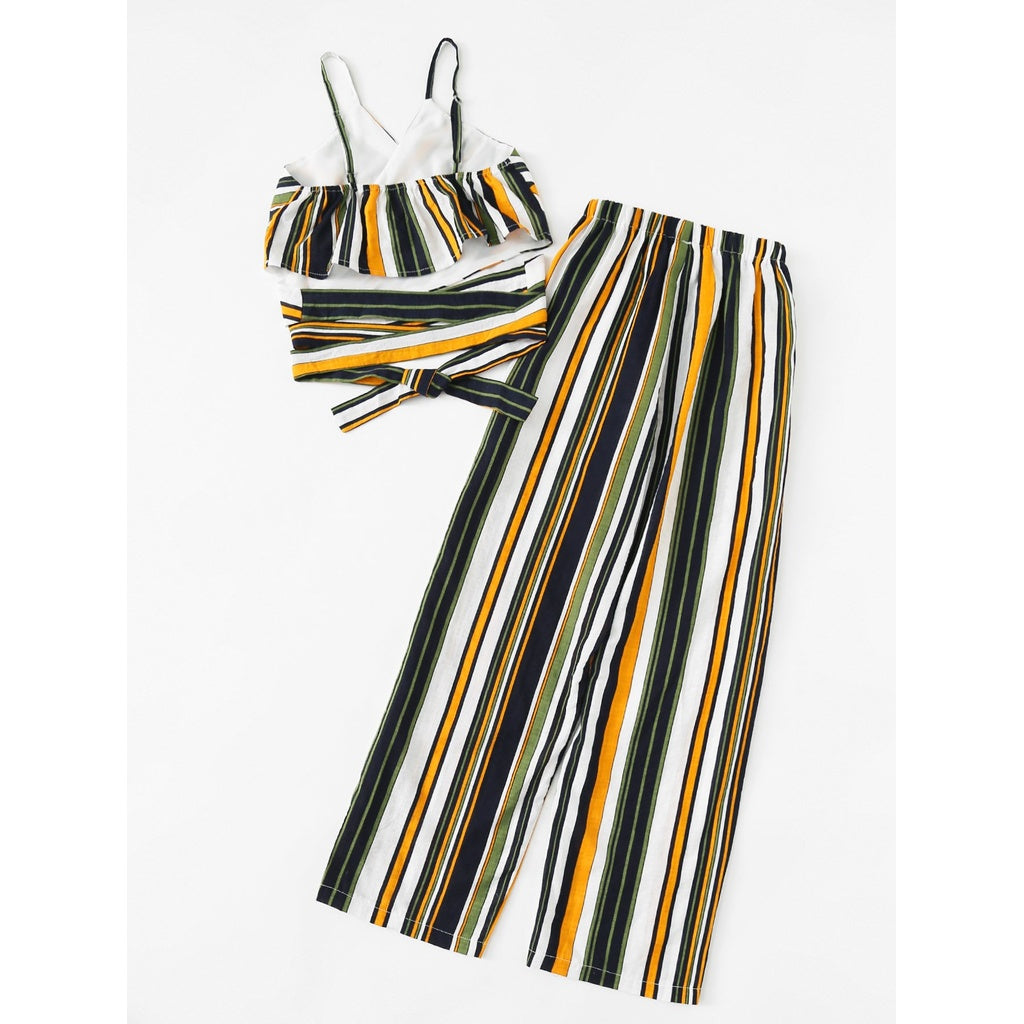 Striped Knot Cami Top With Pants