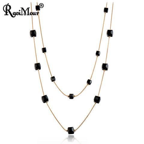Double Layer Black Pendant Necklace