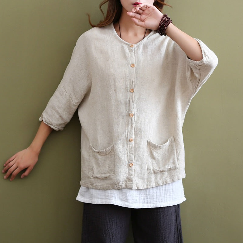 Solid Beige White Linen Blouse
