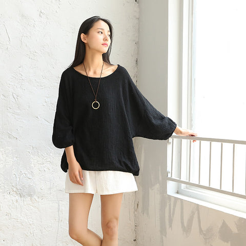 Solid Baggy Oversized Cotton Linen Blouse