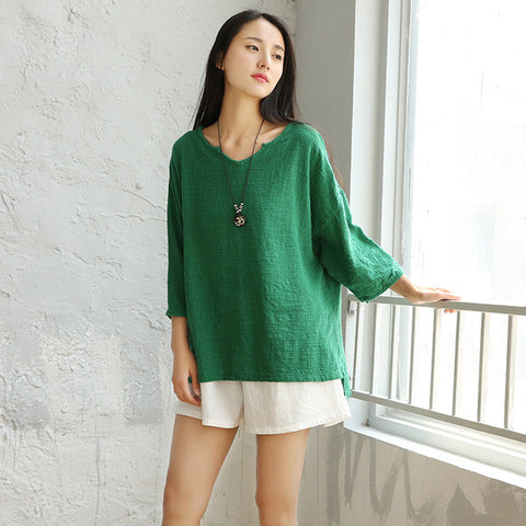 Open V-Neck Linen Cotton Blouse
