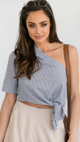 One Shoulder Women's Cropped Blouse