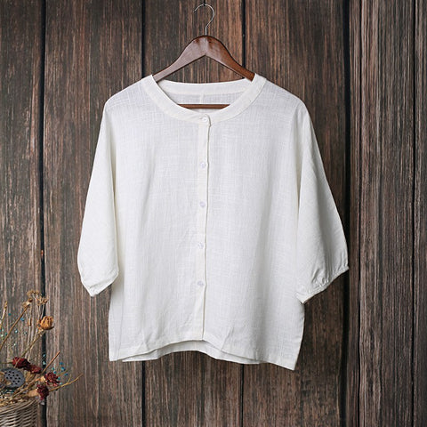 Solid Button Down Cotton Linen Blouse