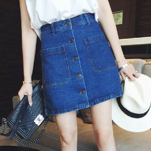 Denim Mini Button Down Skirt