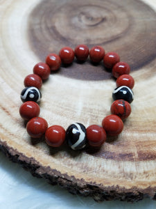 Red Jasper + Tribal Beads