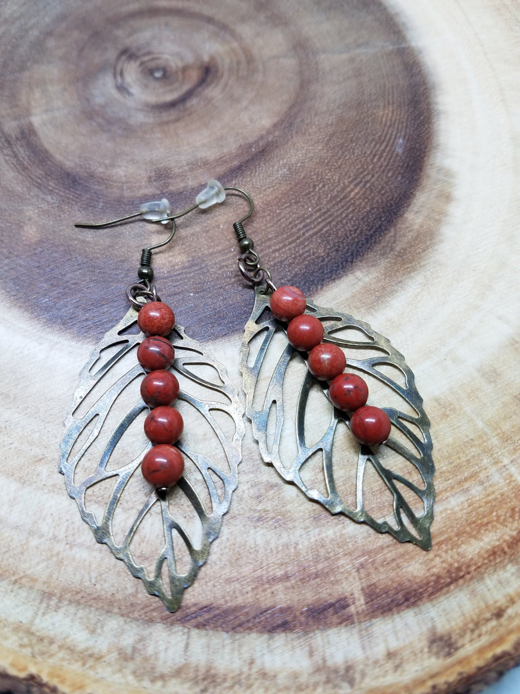 Red Jasper + Bronze Leaf Earrings