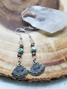 Tree Agate, Bronze Beads, Aztec Silver Fan Drop Earrings