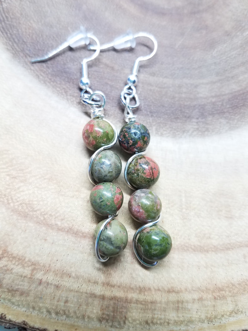 Unakite Silver Wired Earrings